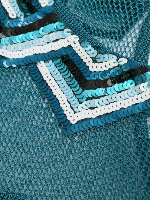 Платье трикотажное с рисунком и плиссированной юбкой - Деталь1