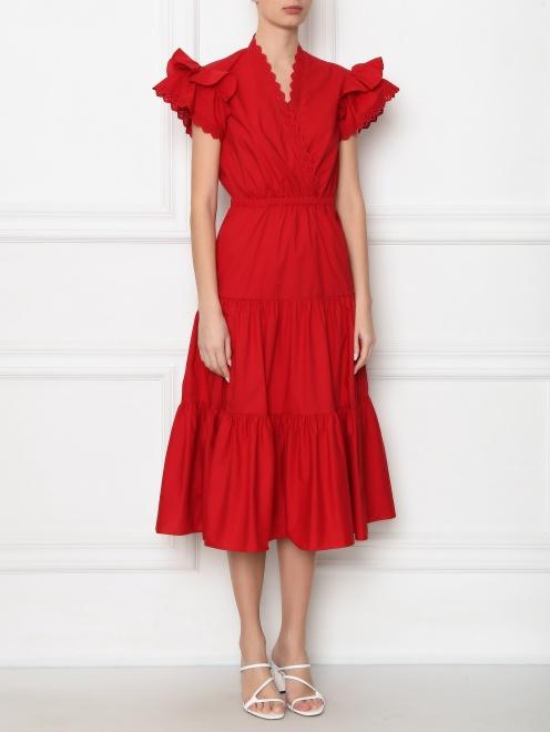 Платье-миди из хлопка с короткими рукавами - МодельВерхНиз