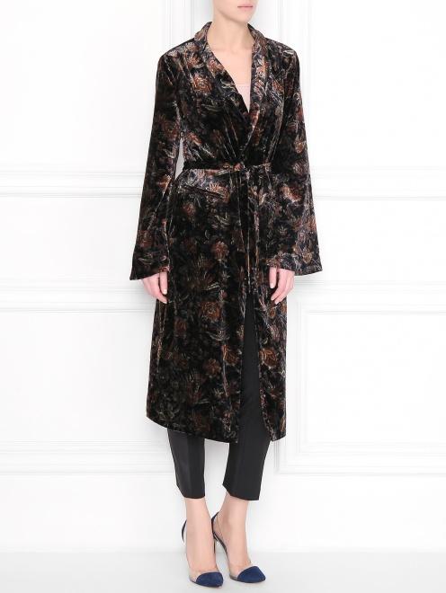 Платье с запахом, из вискозы, с цветочным узором - Общий вид