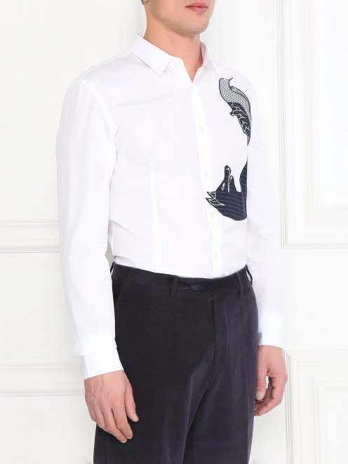Рубашка из хлопка с узором на груди - Модель Верх-Низ