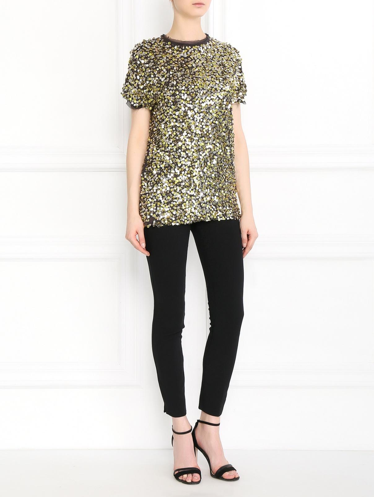 Блуза из хлопка декорированная пайетками Lanvin  –  Модель Общий вид  – Цвет:  Мультиколор