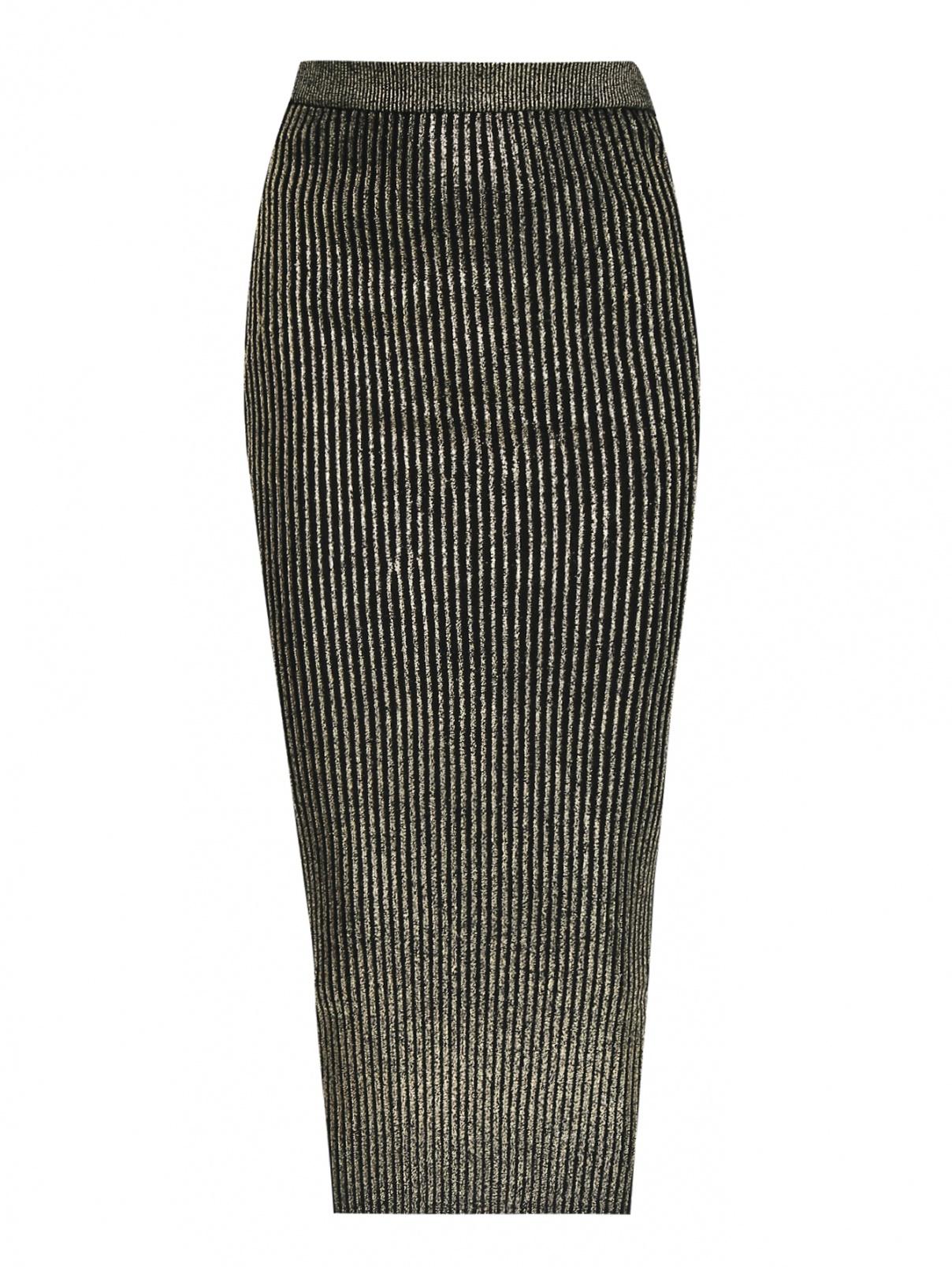 Юбка-резинка из шерсти с напылением металлик Isola Marras  –  Общий вид  – Цвет:  Золотой