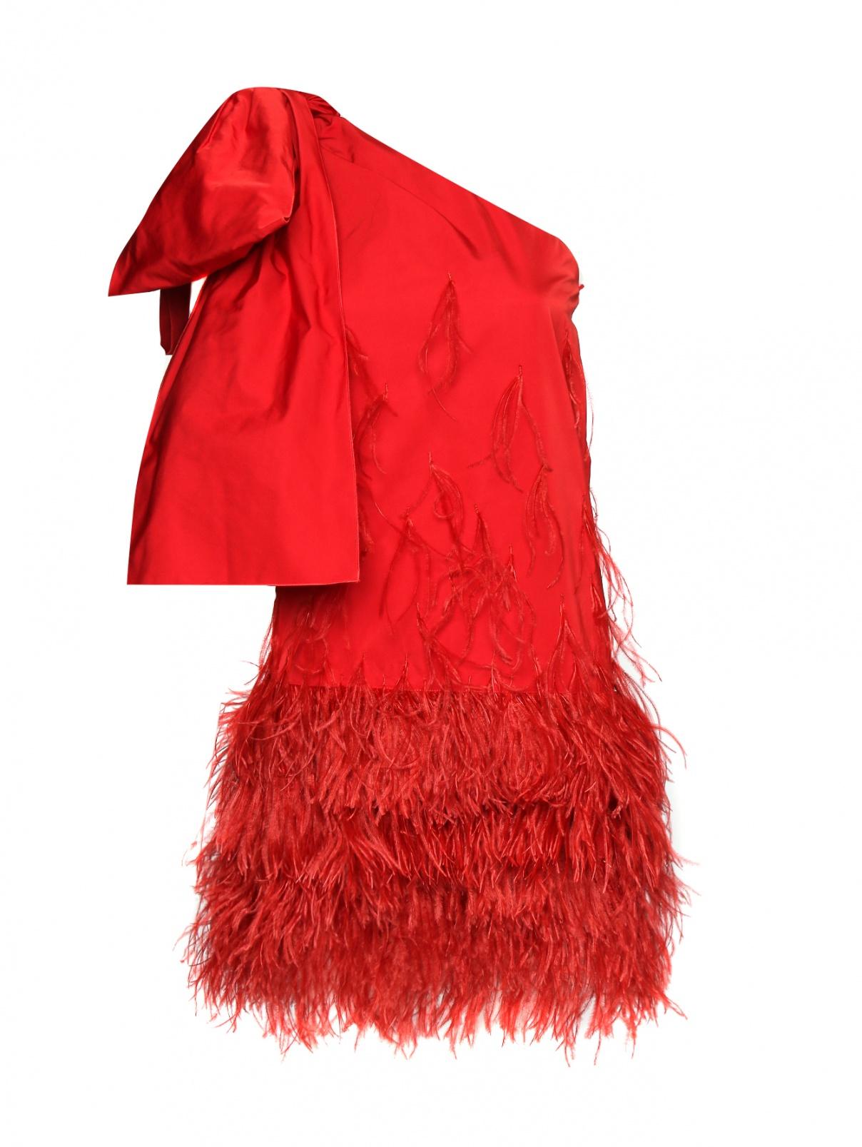 Платье-мини декорированное перьями N21  –  Общий вид  – Цвет:  Красный