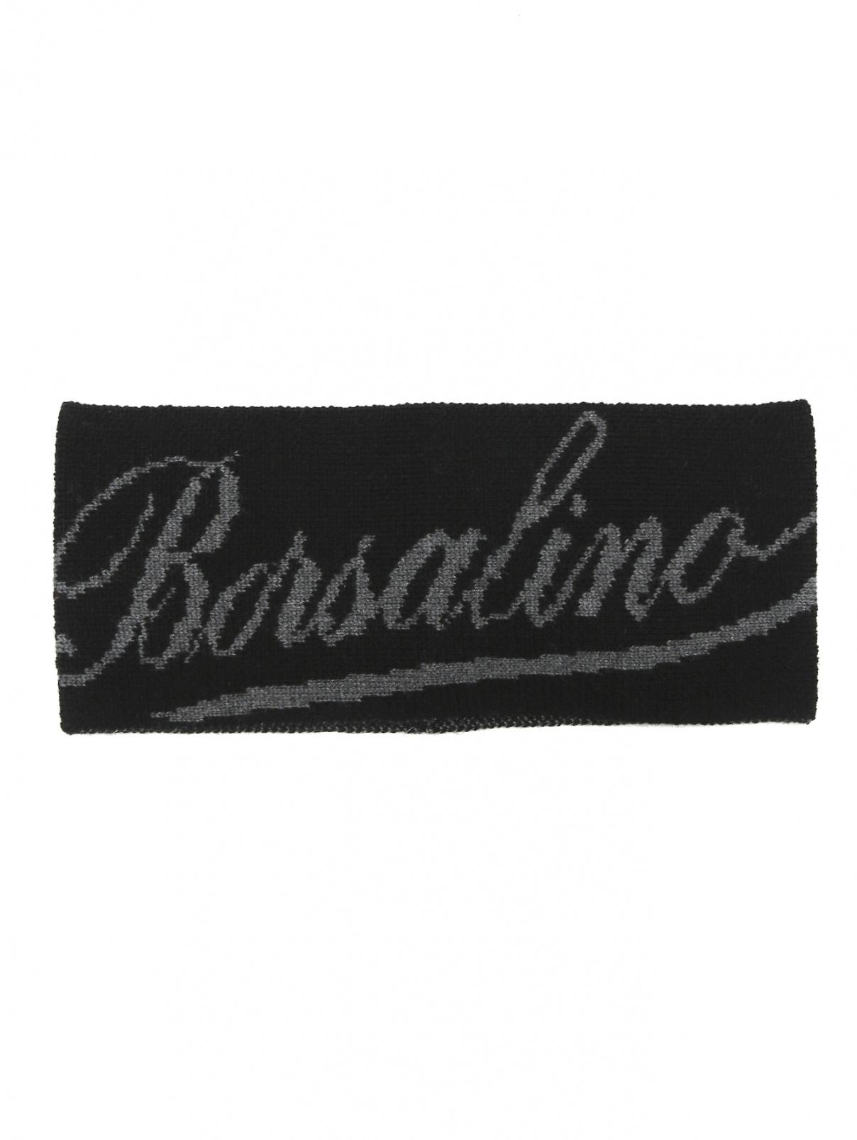 Повязка на голову из шерсти с узором Borsalino  –  Общий вид  – Цвет:  Черный