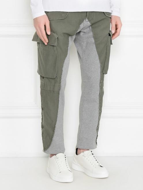 Комбинированные брюки карго из смешанного хлопка - МодельВерхНиз
