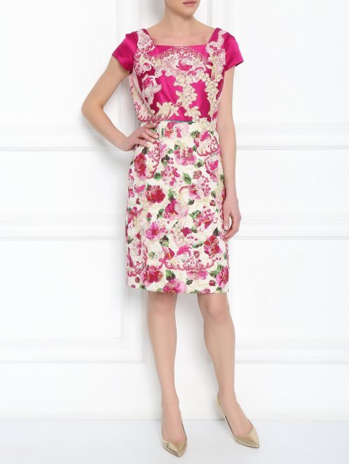 Платье из шелка с узором и декоративной отделкой - МодельОбщийВид