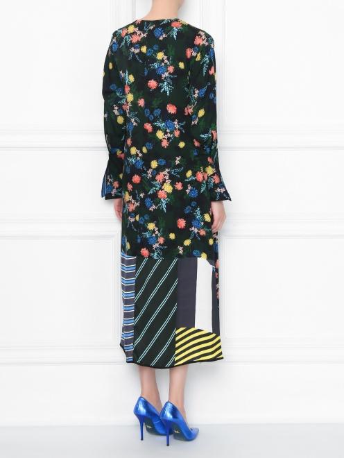 Платье из смешанного шелка с цветочным узором - МодельВерхНиз1