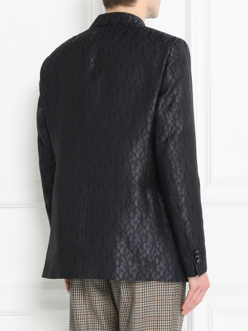 Пиджак однобортный из шелка с узором - МодельВерхНиз1
