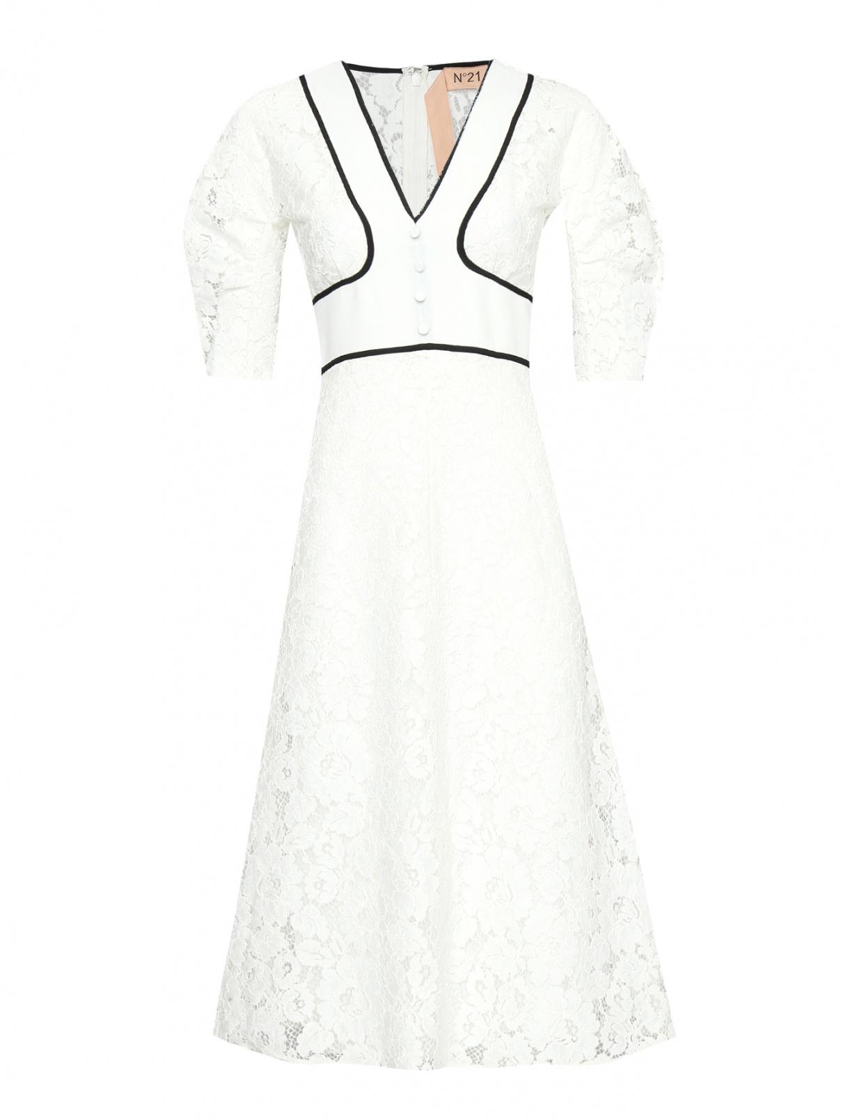 Платье-миди из кружева с контрастной отделкой N21  –  Общий вид  – Цвет:  Белый