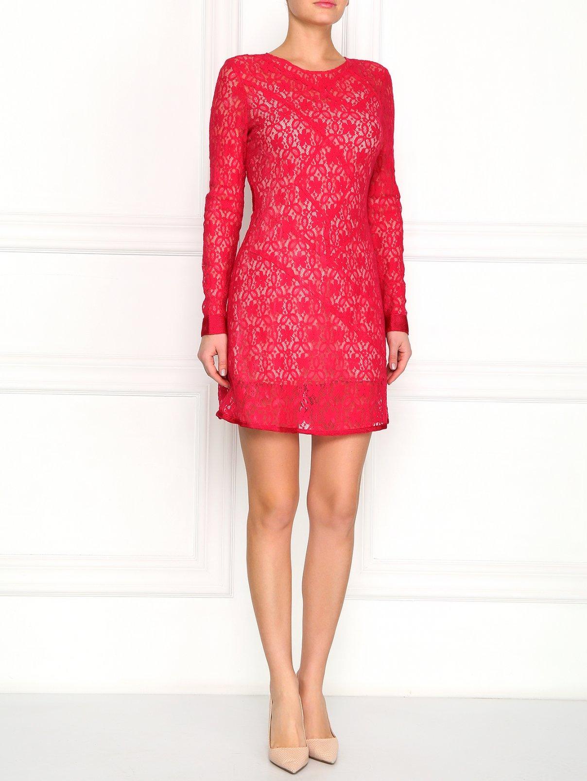 Платье из кружева Marc by Marc Jacobs  –  Модель Общий вид  – Цвет:  Красный