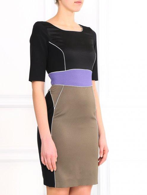 Платье-футляр с коротким рукавом - Модель Верх-Низ