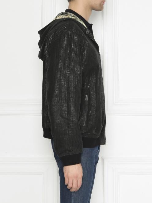 Куртка из кожи на молнии с капюшоном - МодельВерхНиз2