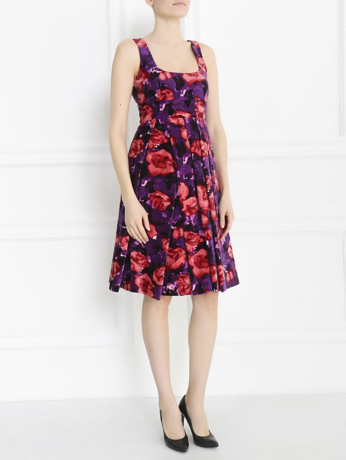 Платье из хлопка с цветочным узором Sportmax  –  Модель Общий вид