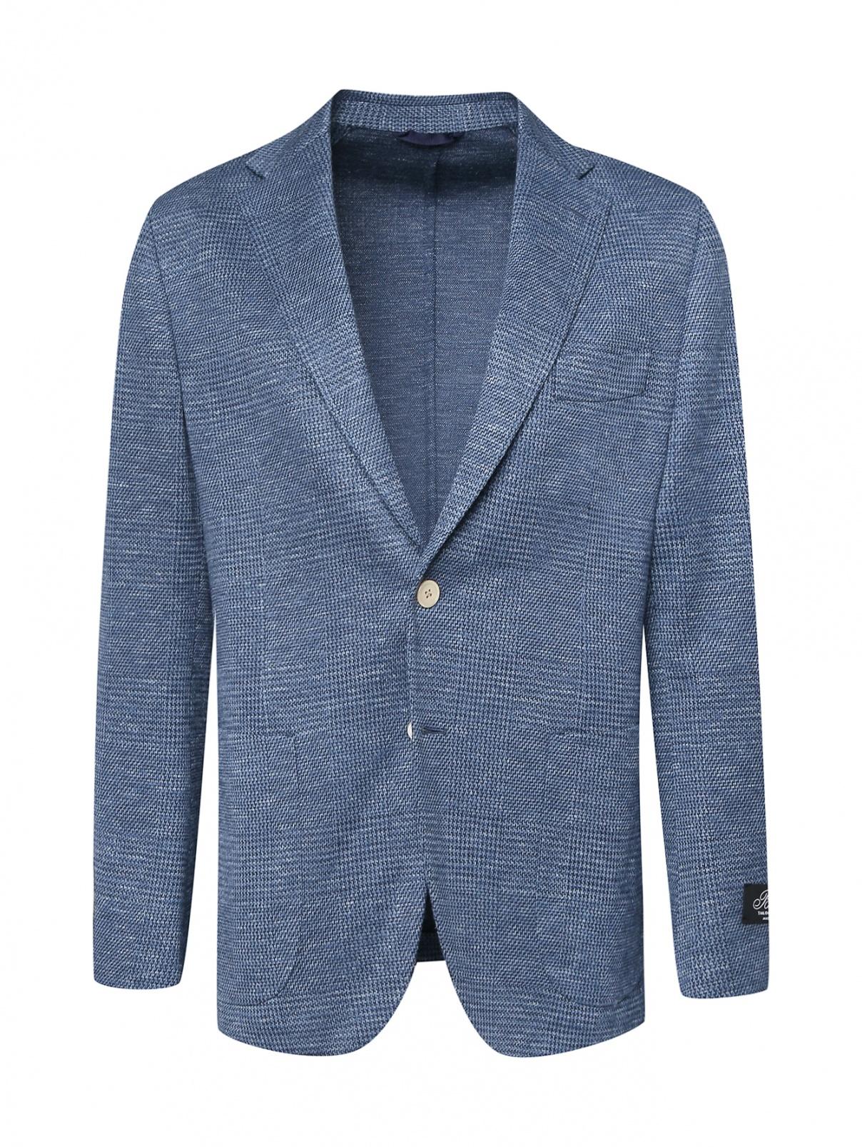 Пиджак трикотажный из шерсти и шелка в клетку Belvest  –  Общий вид