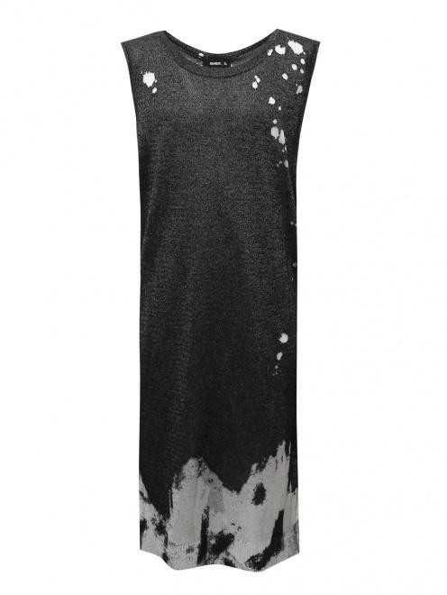 Асимметричное платье из  трикотажа - Общий вид