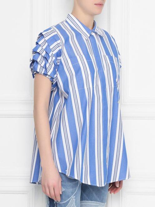 Блуза из хлопка с узором полоска - МодельВерхНиз