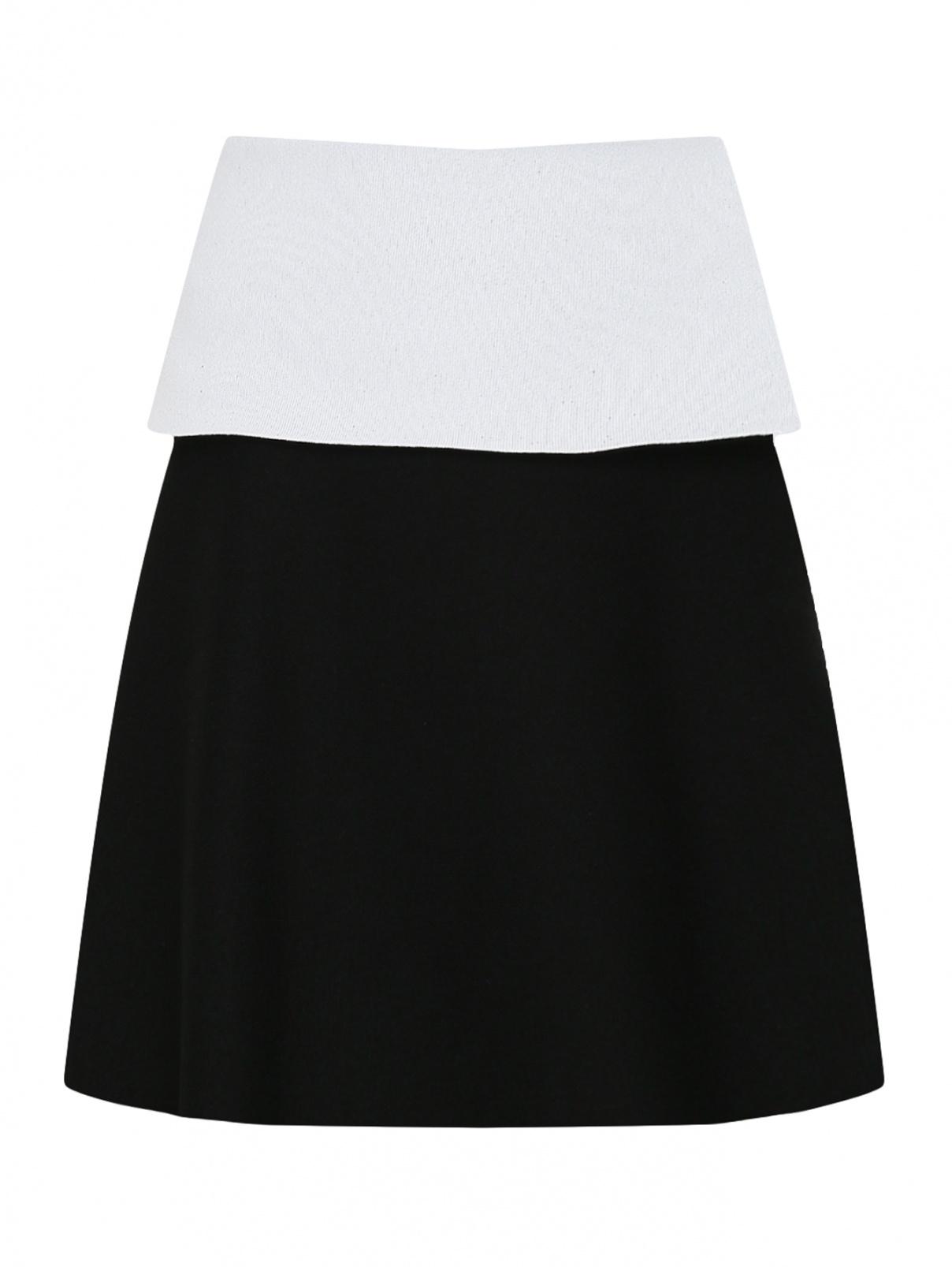 Трикотажная юбка с контрастной баской и молнией Proenza Schouler  –  Общий вид  – Цвет:  Черный