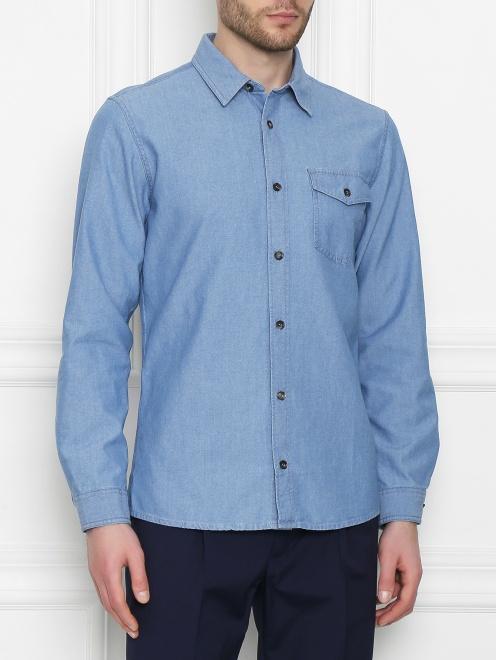 Рубашка хлопковая прямого кроя - МодельВерхНиз