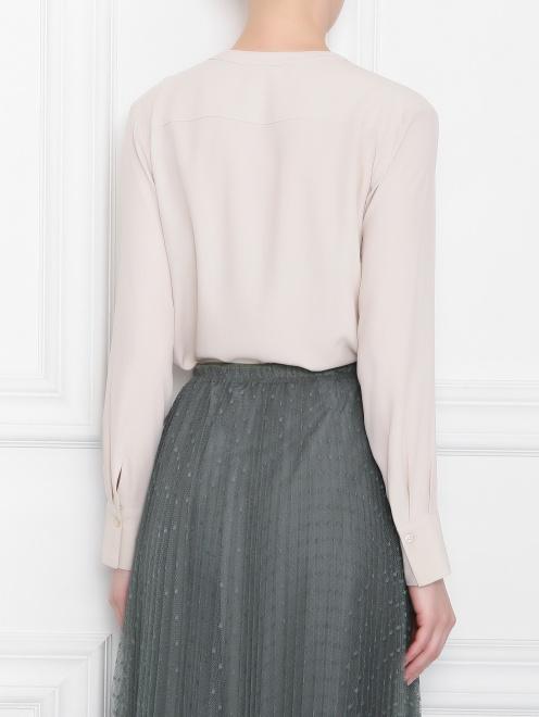 Блуза из смессового шелка с v образным вырезом  - МодельВерхНиз1