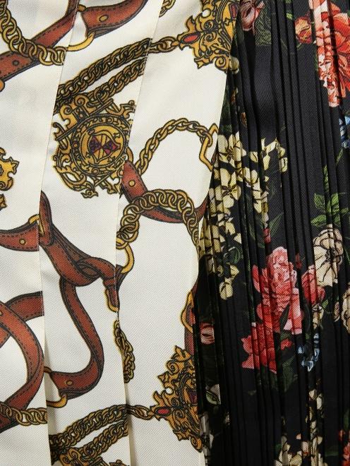 Юбка плиссированная из ткани с принтом - Деталь