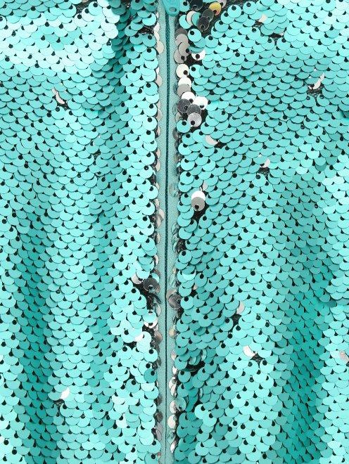 Юбка из ткани с пайетками с бахромой из бисера - Деталь1