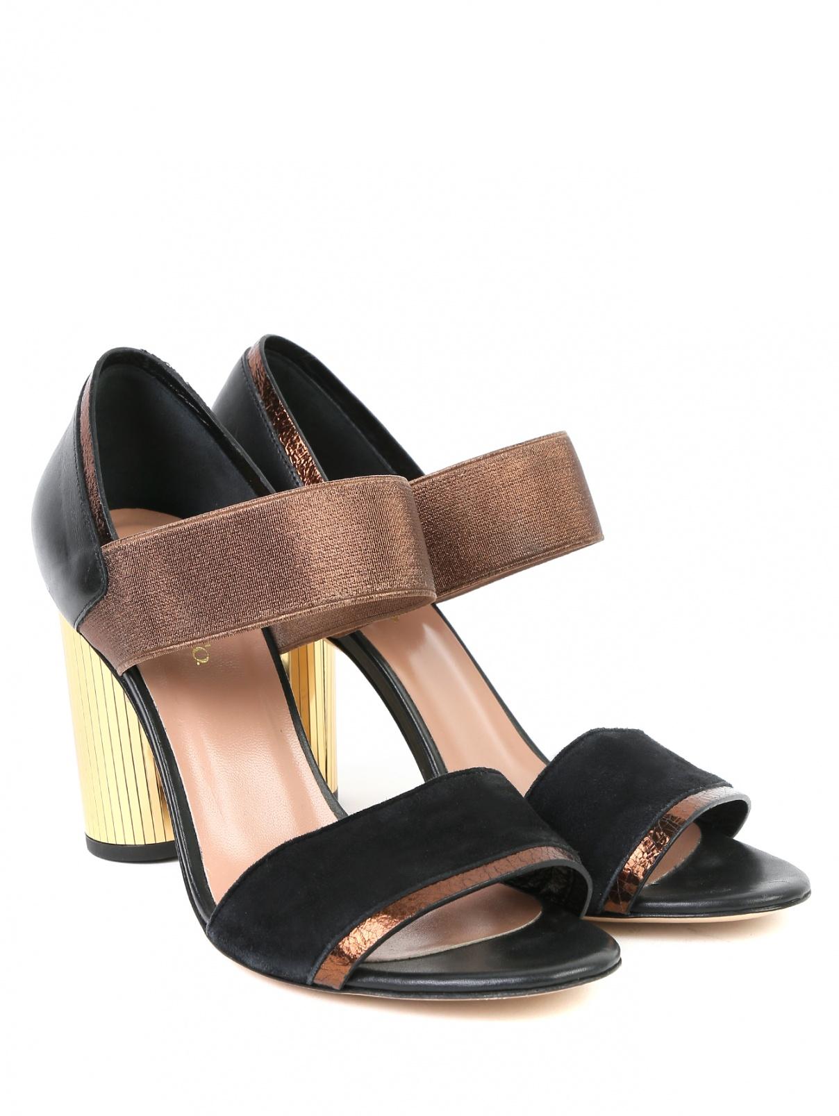 Босоножки из кожи и замши на устойчивом каблуке Max&Co  –  Общий вид  – Цвет:  Черный
