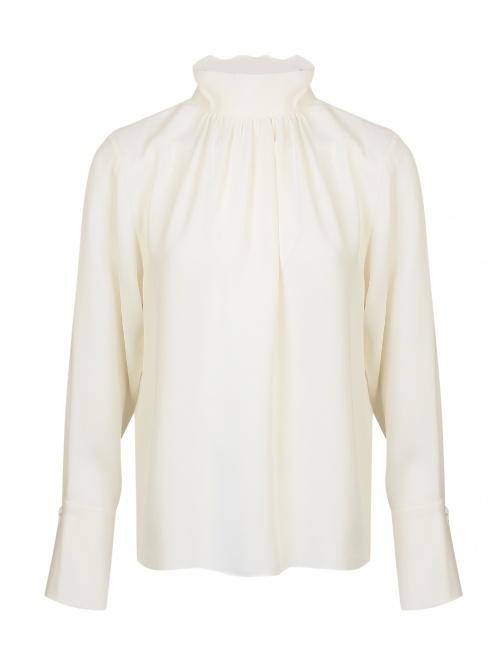 Блуза шелковая со сборкой  - Общий вид