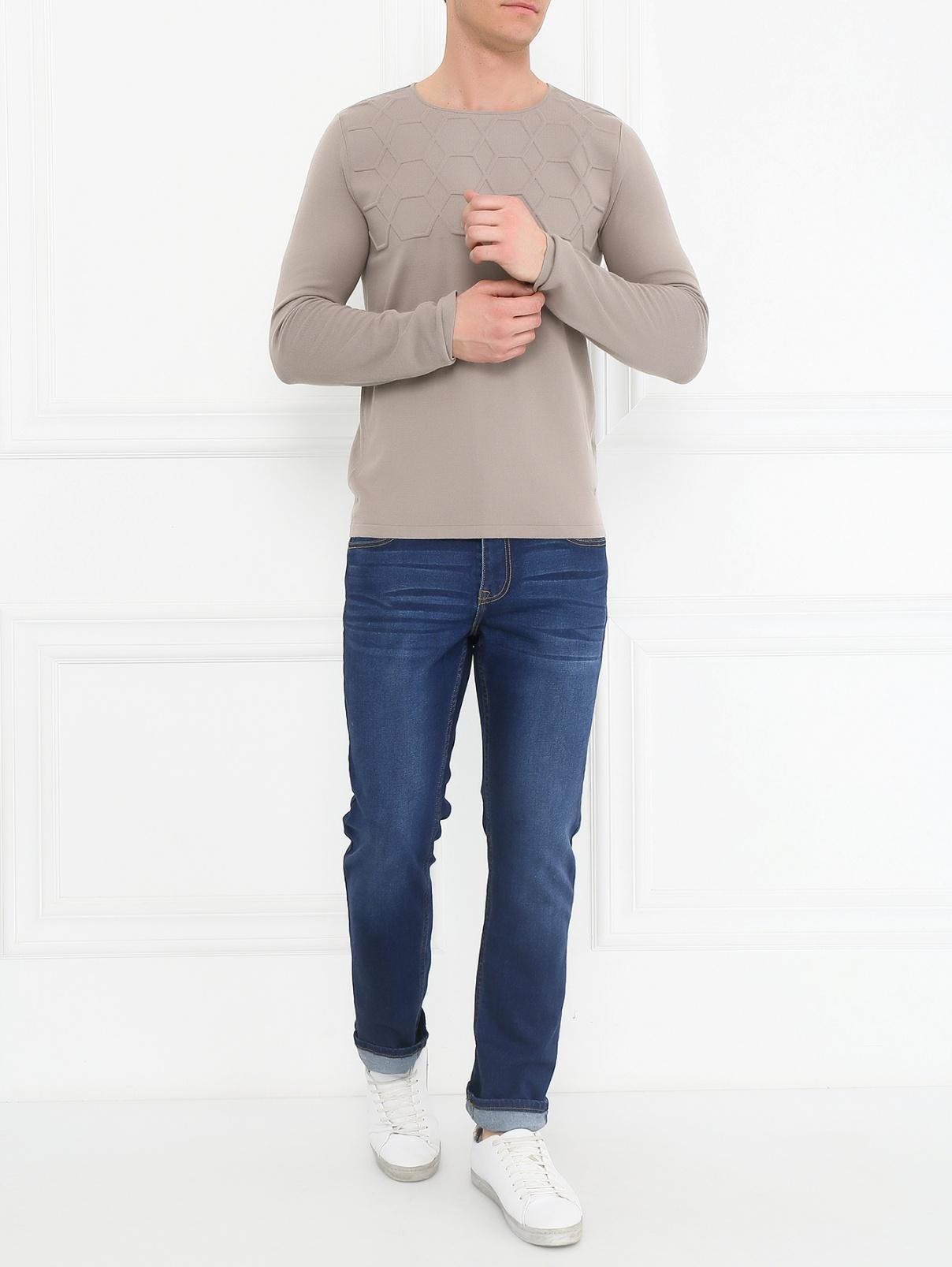 Джемпер из хлопка с фактурной вставкой Emporio Armani  –  Модель Общий вид  – Цвет:  Бежевый