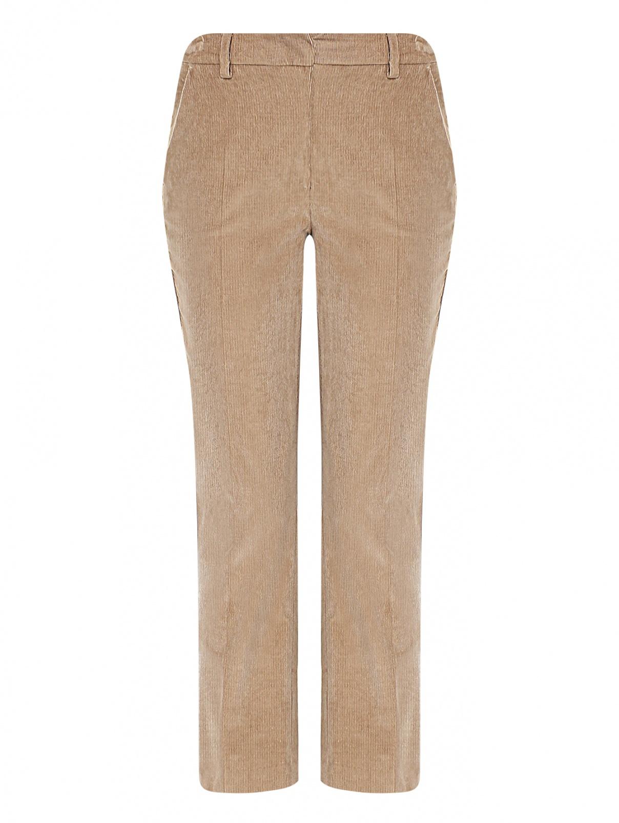 Вельветовые брюки из хлопка с карманами Weekend Max Mara  –  Общий вид  – Цвет:  Бежевый