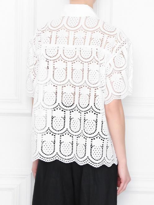 Блуза из хлопка с кружевным узором - МодельВерхНиз1