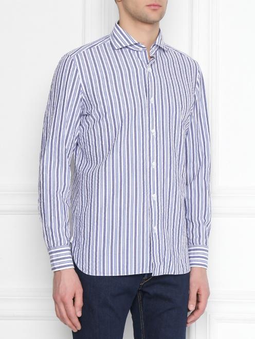 Рубашка хлопковая в полоску - МодельВерхНиз