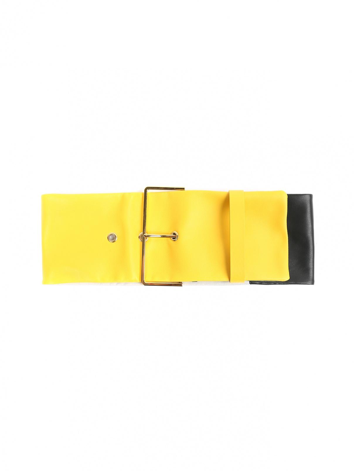 Широкий пояс из кожи с золотой фурнитурой Marni  –  Общий вид  – Цвет:  Мультиколор