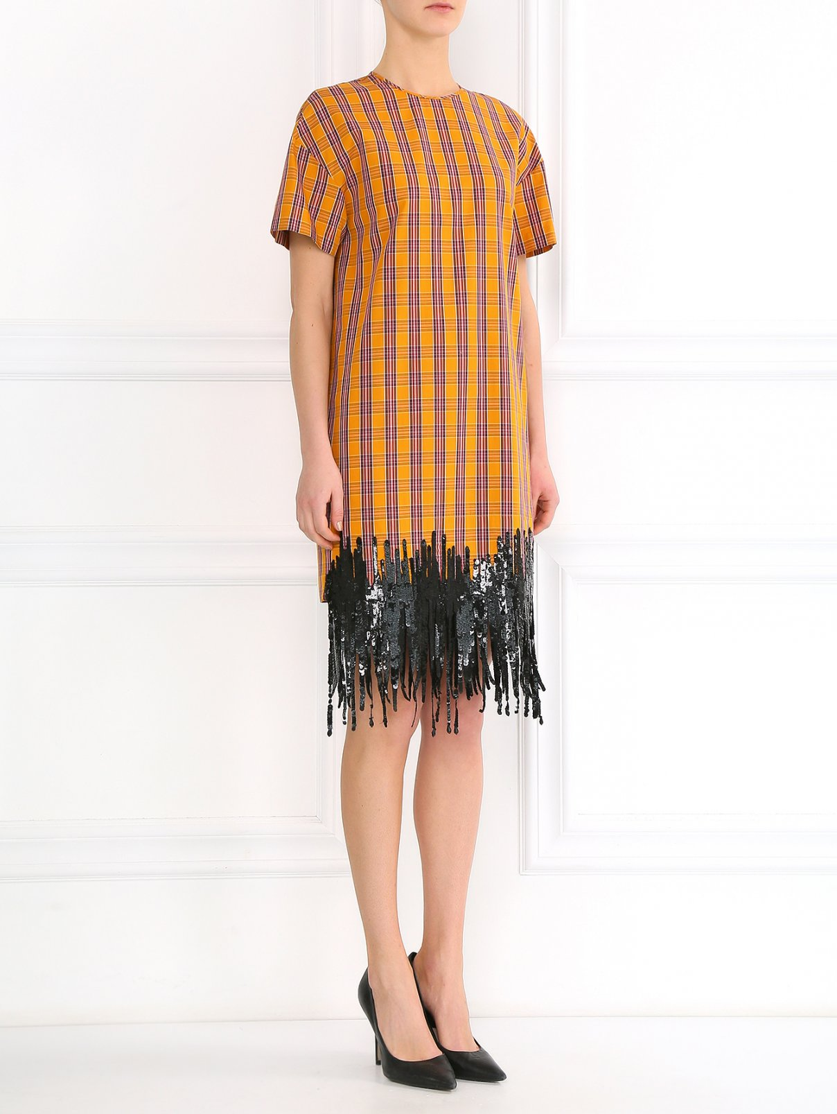 Платье-мини из хлопка декорированное пайетками N21  –  Модель Общий вид  – Цвет:  Оранжевый