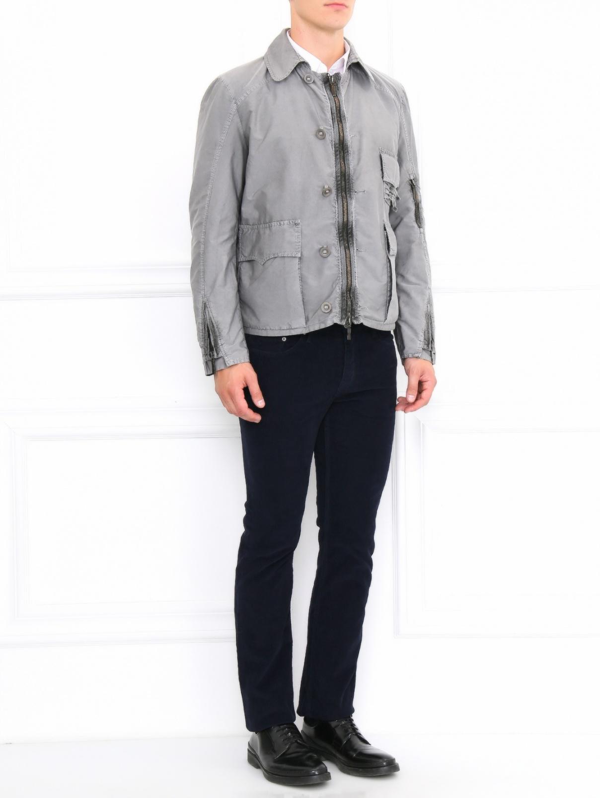 Легкая куртка на молнии Ermanno Scervino  –  Модель Общий вид  – Цвет:  Серый