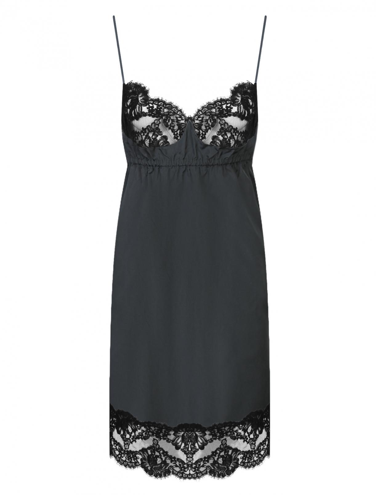 Платье из шелка и хлопка с кружевной отделкой N21  –  Общий вид
