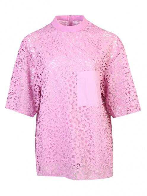 Блуза из кружева с накладным карманом - Общий вид
