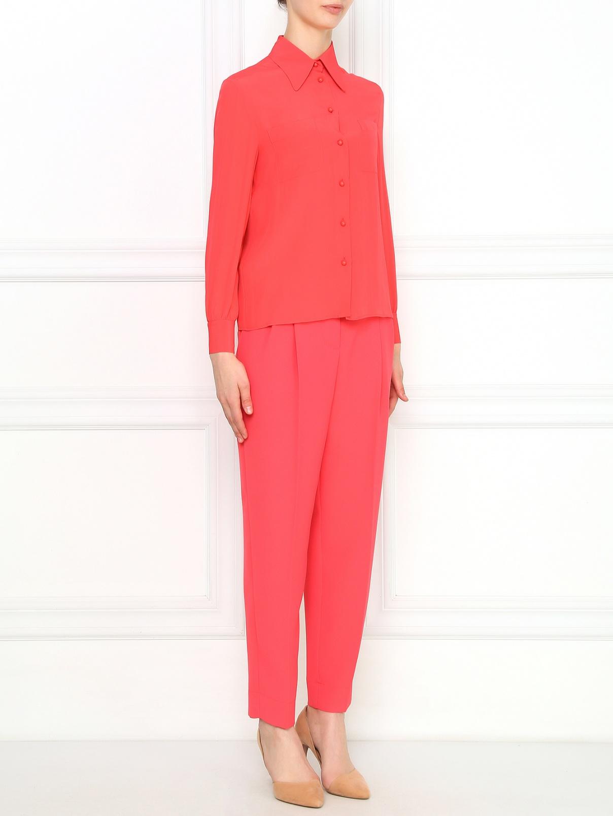 Свободные укороченные брюки с защипами Philosophy Di Lorenzo Serafini  –  Модель Общий вид  – Цвет:  Розовый