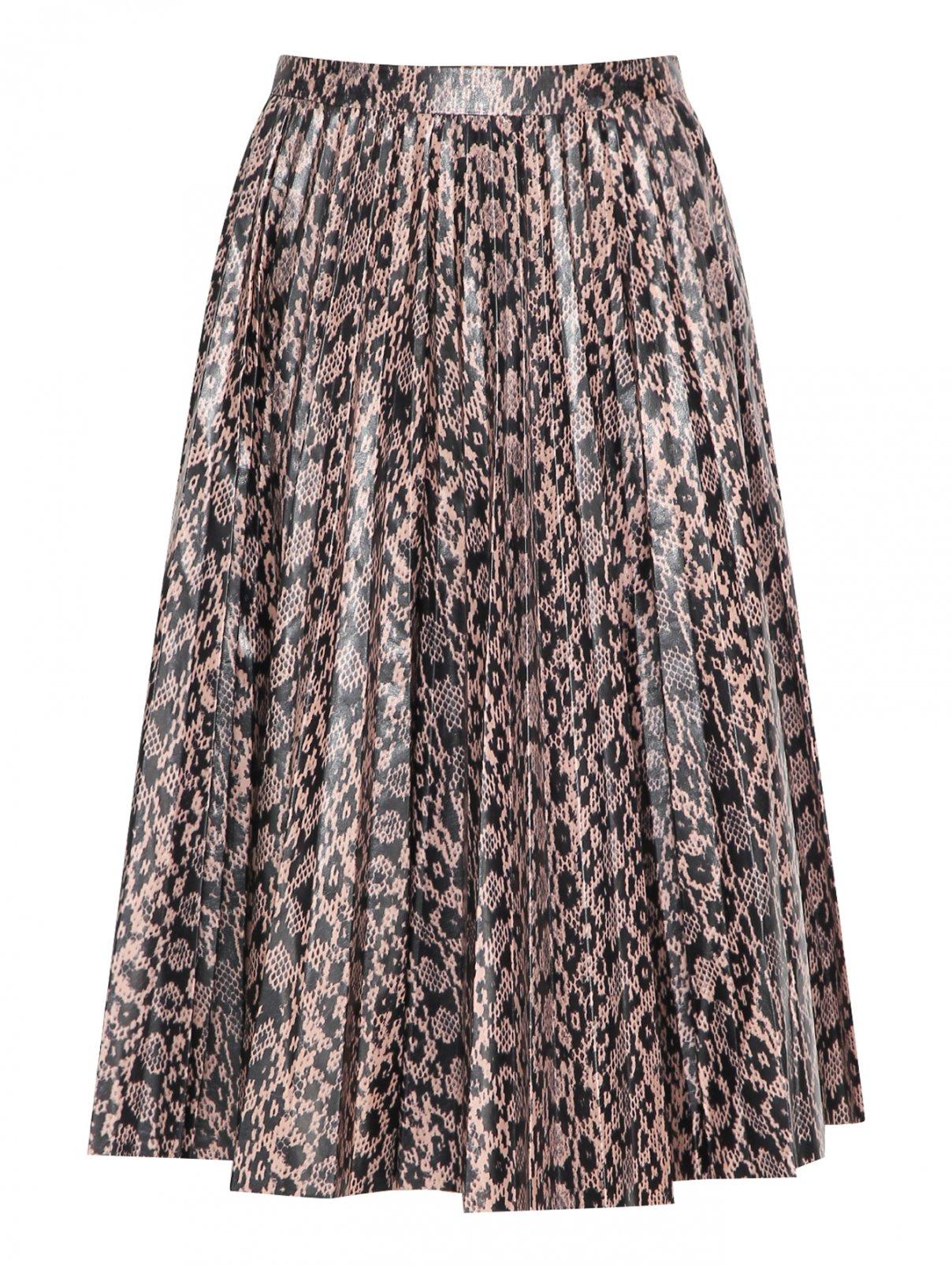 Плиссированная юбка из кожи с узором DROMe  –  Общий вид