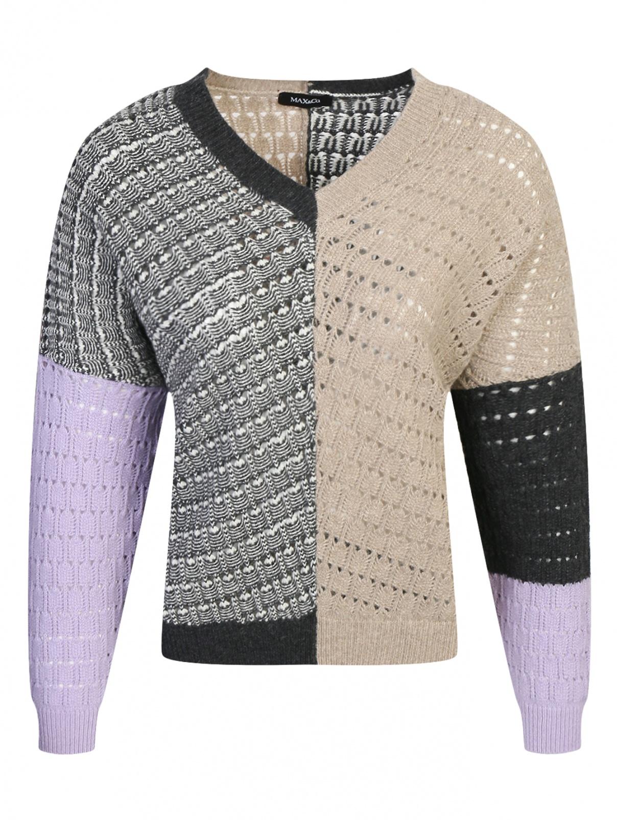 Джемпер из шерсти свободного кроя с v-вырезом Max&Co  –  Общий вид
