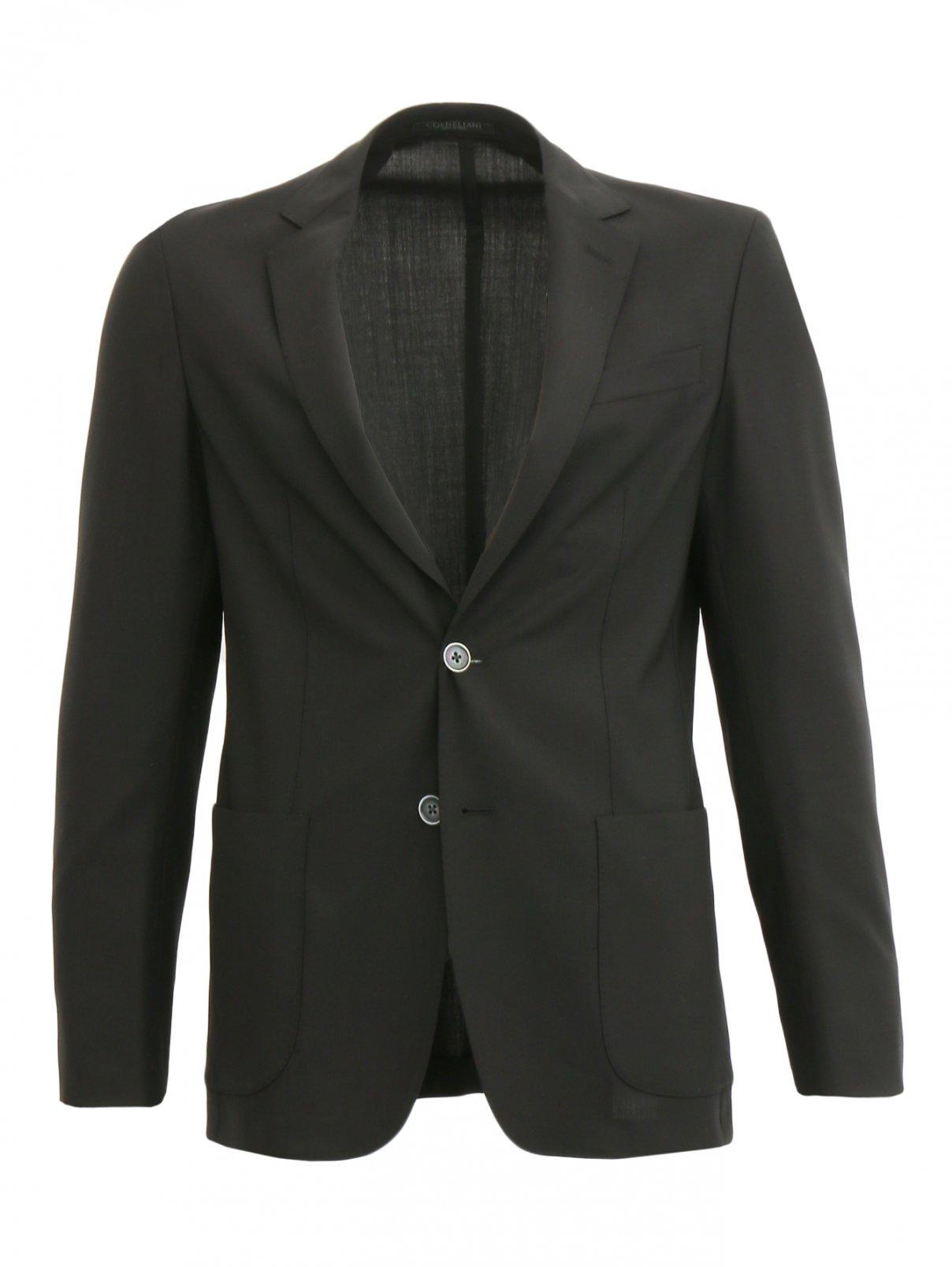 Пиджак из тонкой шерсти Corneliani ID  –  Общий вид  – Цвет:  Черный