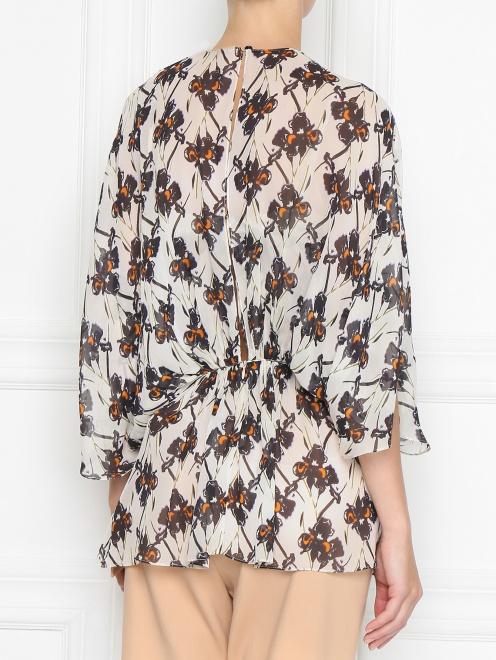 Блуза из шелка с принтом свободного кроя - МодельВерхНиз1
