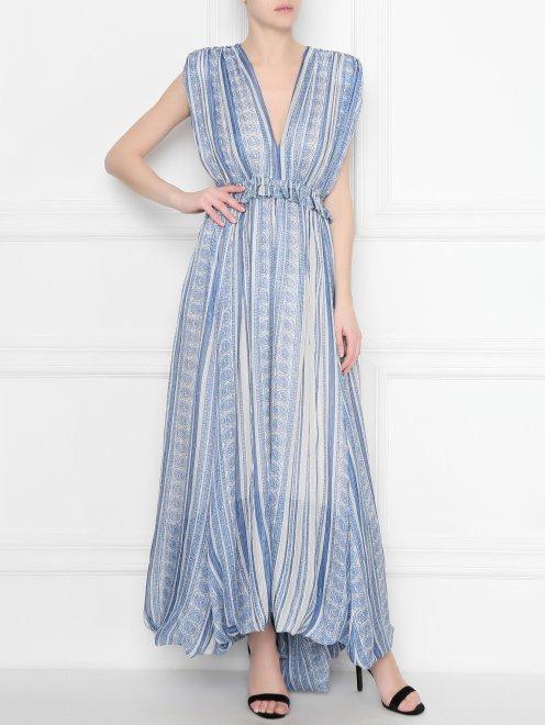 Платье  с узором полоска из шелка - Общий вид