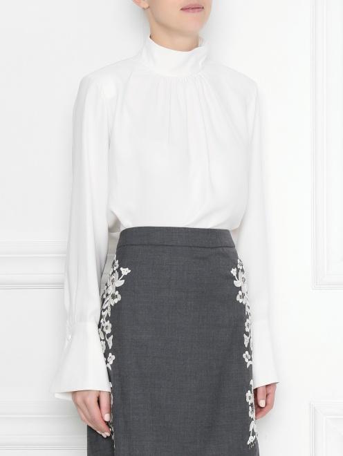 Блуза шелковая со сборкой  - МодельВерхНиз