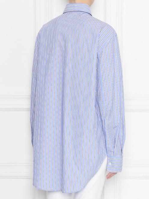 Блуза из хлопка в полоску с контрастным карманом - МодельВерхНиз1