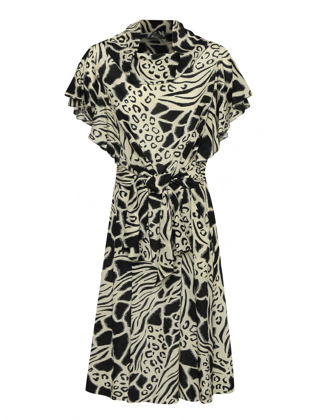 Платье из шелка с принтом и драпировкой Alberta Ferretti  –  Общий вид  – Цвет:  Черный