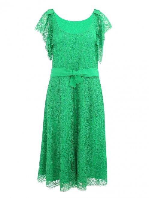 Платье-миди из кружева с поясом - Общий вид