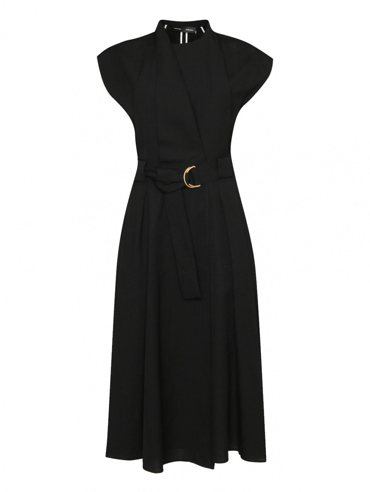 Платье-миди с поясом Proenza Schouler  –  Общий вид  – Цвет:  Черный