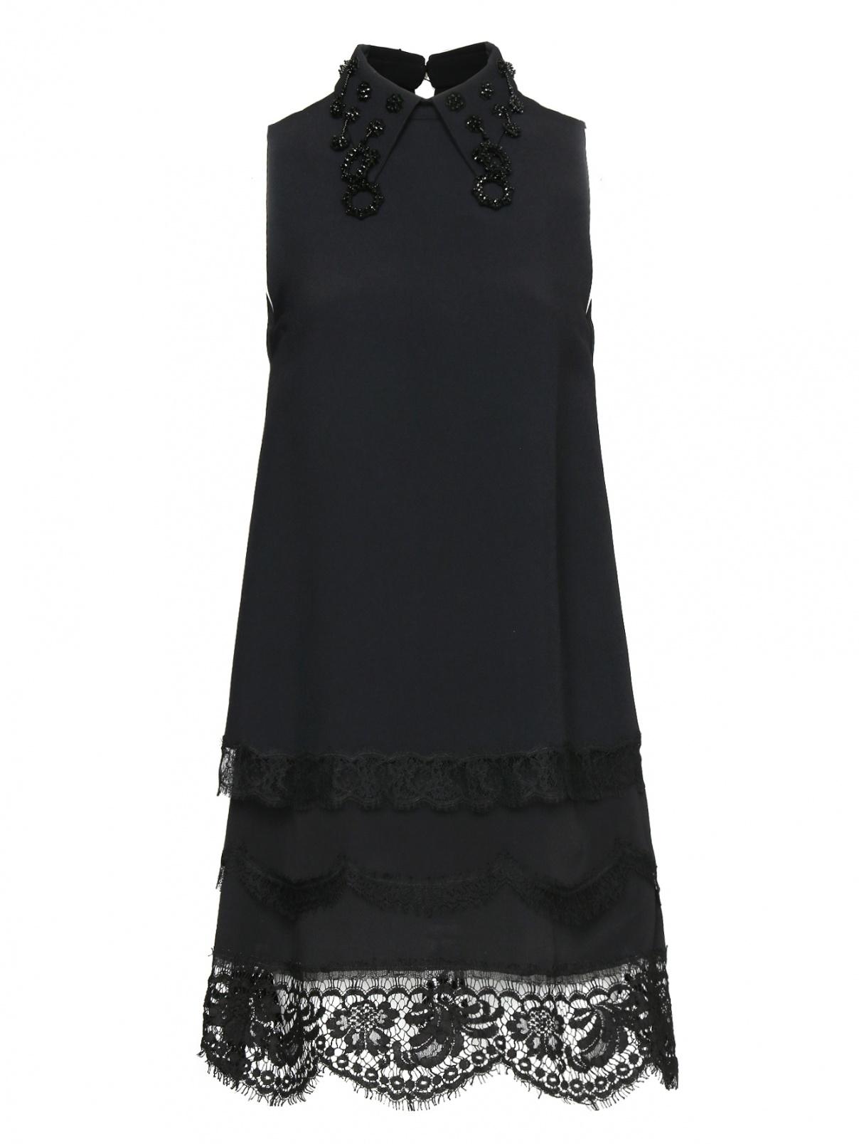 Платье-мини декорированное кружевом и кристаллами N21  –  Общий вид  – Цвет:  Черный