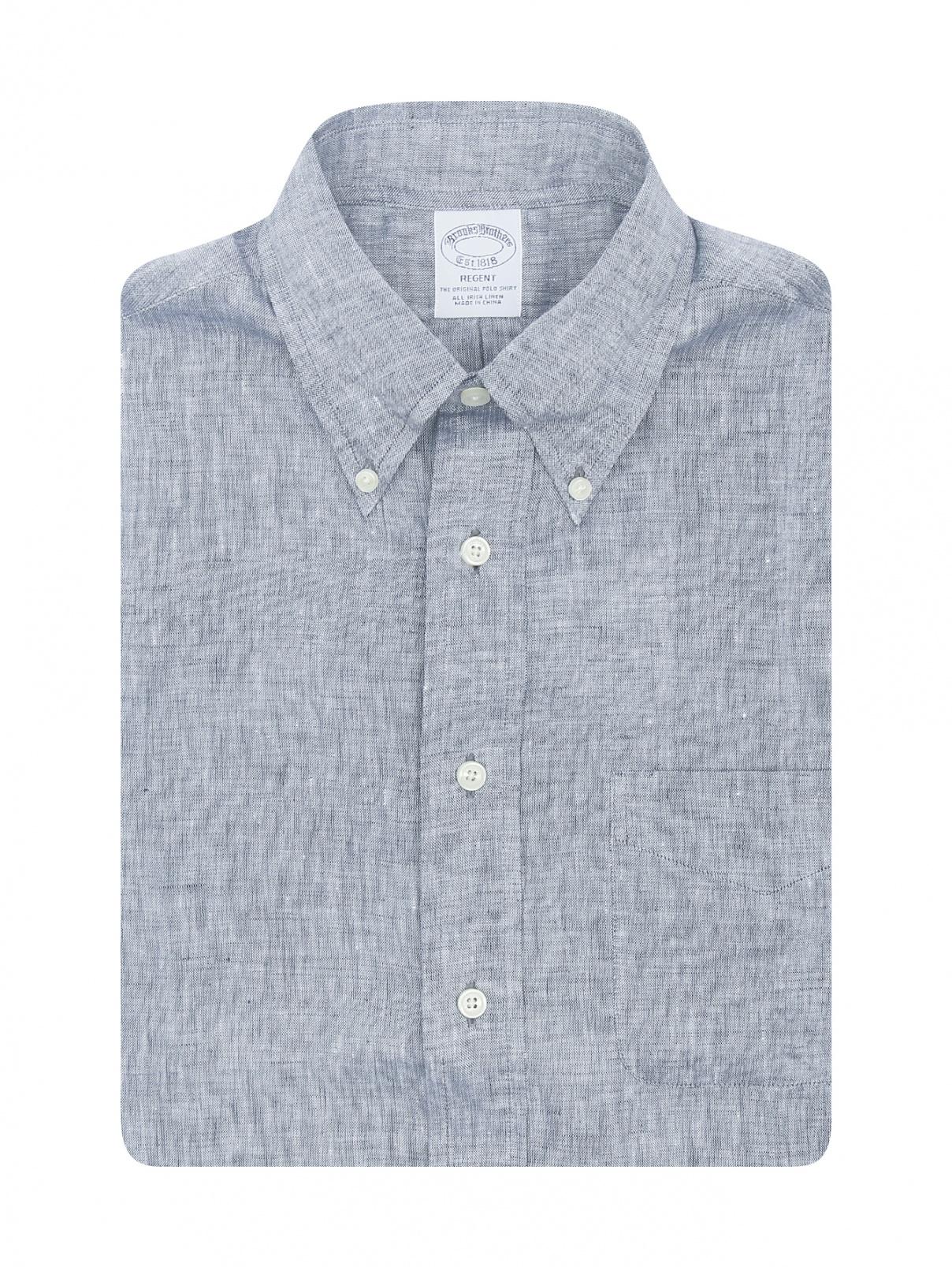 Рубашка из льна с коротким рукавом Brooks Brothers  –  Общий вид  – Цвет:  Серый