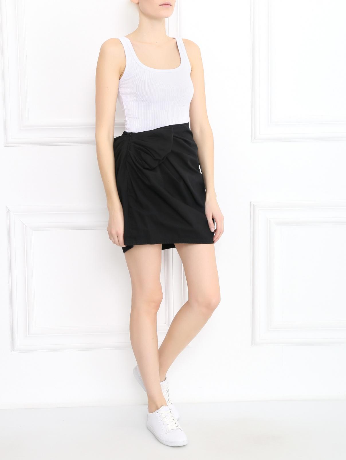Юбка-мини из хлопка с драпировкой Lanvin  –  Модель Общий вид  – Цвет:  Черный